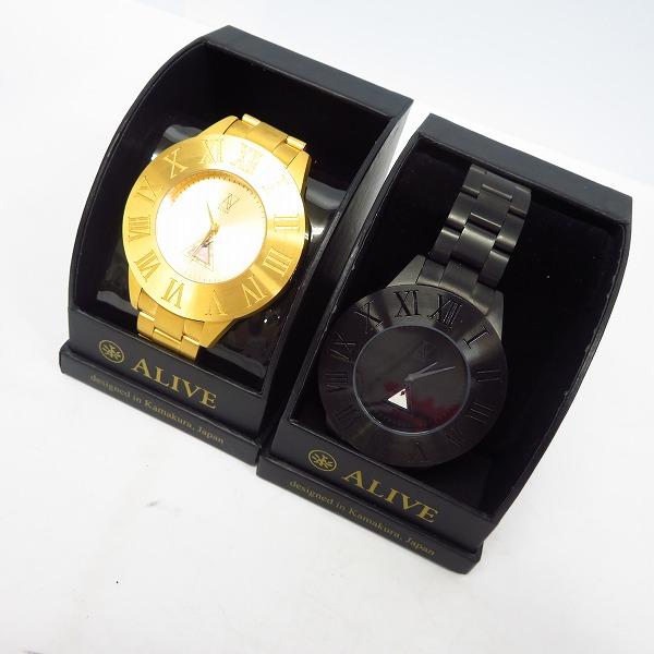 実際に弊社で買取させて頂いた【動作未確認】ALIVE ATHLETICS/アライブアスレティ 腕時計 クオーツ ゴールド/ブラック 2点セット