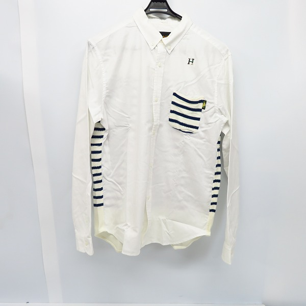 HBNS/HABANOS/ハバノス ボーダーニット切替 長袖 ボタンダウンシャツ/XL
