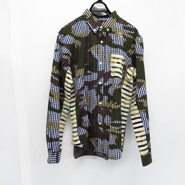 HBNS/HABANOS/ハバノス ボーダーニット切替/カモフラ 長袖 ボタンダウンシャツ/L