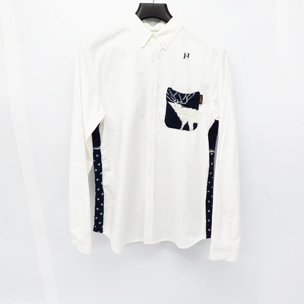 HBNS/HABANOS/ハバノス 胸ロゴ/ニット切替 長袖 ボタンダウンシャツ/L