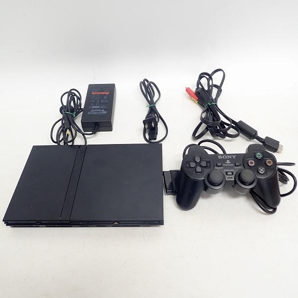 【動作確認済】SONY/ソニー PlayStation2/PS2/プレイステーション2 SCPH-75000 本体 チャコールブラック コントローラー付き