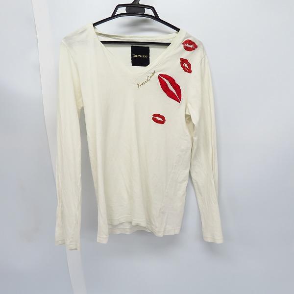 DRESS CAMP/ドレスキャンプ リップ刺繍 VネックロングTシャツ S