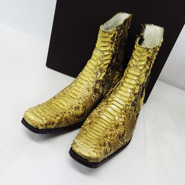 HIROMU TAKAHARA/ヒロムタカハラ スネーク/パイソン レザー サイドジップ ブーツ