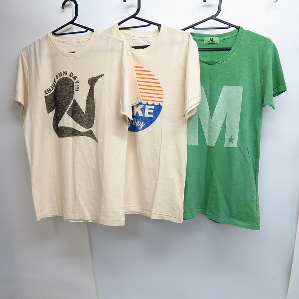 M/エム シンプルロゴ/MAKEUP my day/ENJOY FUN DAY プリント ハーフスリーブ/半袖 カットソー/Tシャツ S 3点セット
