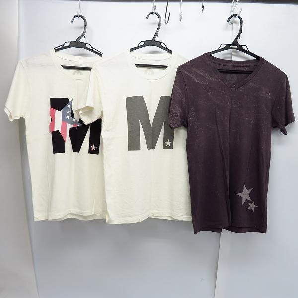 M/エム ロゴ 星条旗スター/シンプル ロゴ/スター プリント ハーフスリーブ/半袖 カットソー/Tシャツ XS 3点セット