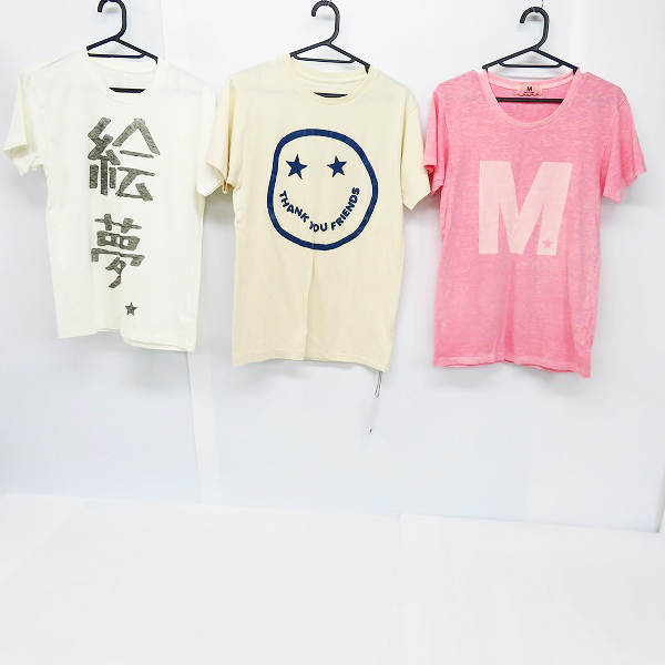 M/エム シンプルロゴ/絵夢/THANK YOU FRIENDS プリント ハーフスリーブ/半袖 カットソー/Tシャツ S/XS 3点セット