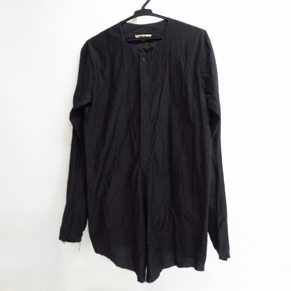 DAMIR DOMA/ダミールドーマ シルク混ノーカラーシャツ ブラック/黒 46