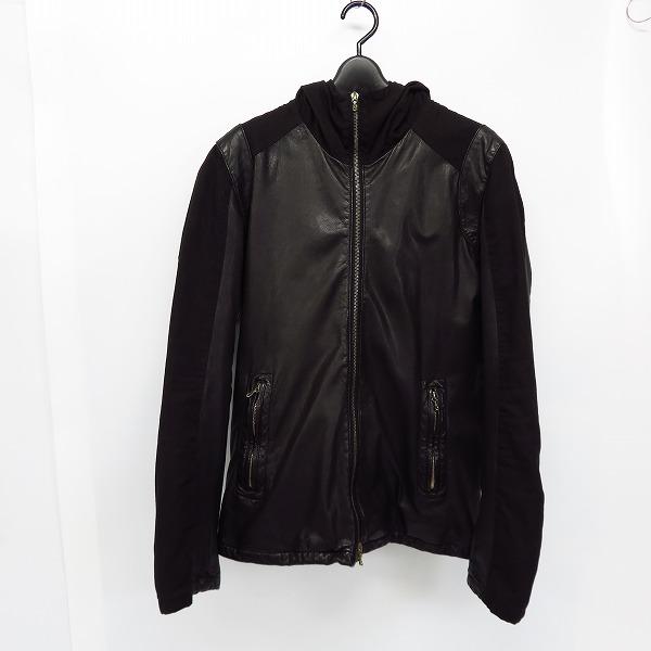 Edition/エディション フード付き 山羊革/ゴートレザージャケット ブラック/48