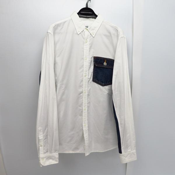 HBNS/HABANOS/ハバノス デニム切替 長袖ボタンダウンシャツ/L