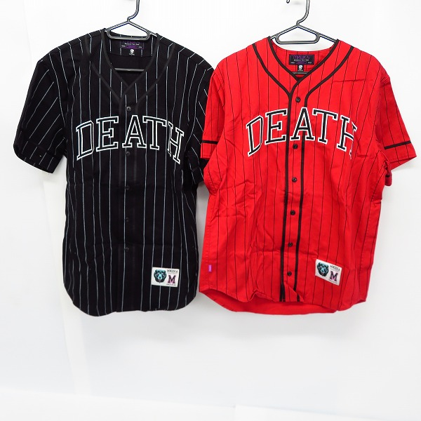 実際に弊社で買取させて頂いたMISHKA/ミシカ DEATH刺繍 ベースボールシャツ ブラック/レッド/黒/赤 Size:M  2点セット