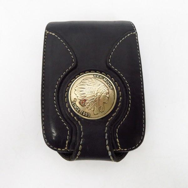 RED MOON/レッドムーン コンチョ付き ショート レザーウォレット/2つ折り 革財布 ブラック/黒