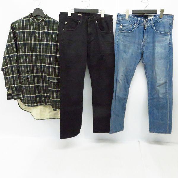 実際に弊社で買取させて頂いたAG/エージー/アドリアーノゴールドシュミット デニムパンツ/ノーカラーシャツ  Size:29/31/46 3点セット