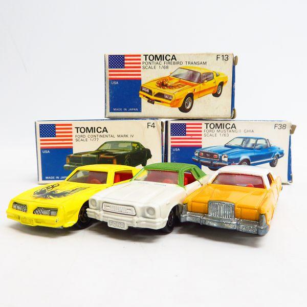 実際に弊社で買取させて頂いたトミカ 青箱/日本製 フォード ムスタング2 ギア/コンチネンタル マーク4/ボンティアック ファイアーバード 3点セット