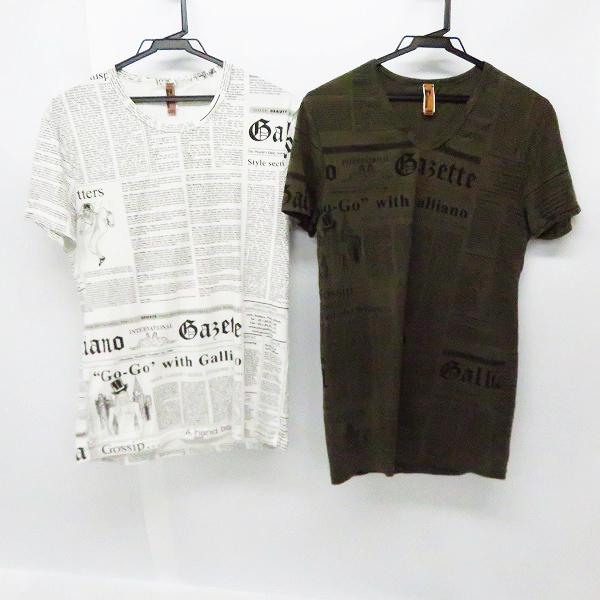 実際に弊社で買取させて頂いたJohn Galliano/ジョンガリアーノ 総柄 半袖カットソー/Tシャツ 48/2点セット